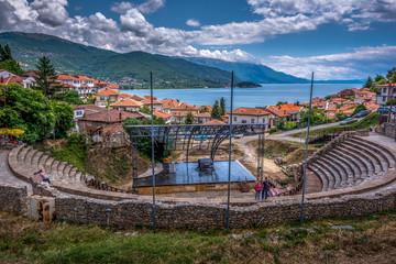 Wall Murals Northern Europe Panorama of Ohrid city in North Macedonia.