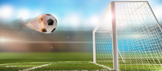 fire flames soccer football ball with soccer goal 3d-illustration