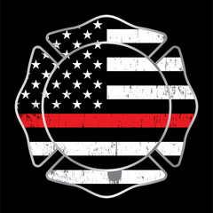 Firefighter Thin Red Line Badge Emblem Illustration