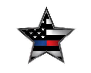 Police and Firefighter Support Star Badge Emblem Illustration