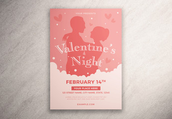 Valentine'S Day Event Flyer Layout with Silhouette Illustration