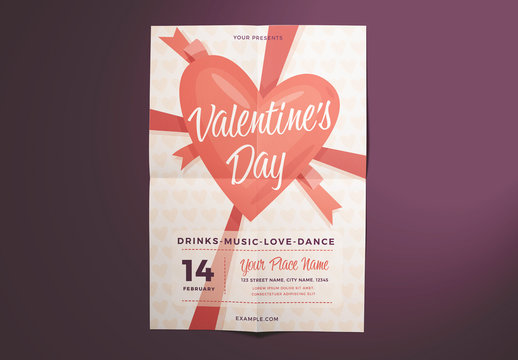 Valentine'S Day Flyer Layout with Heart and Ribbon Illustration Elements