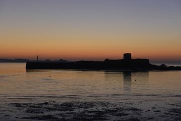 St Aubin's Fort, Jersey, U.K. Winter coastal sunrise.