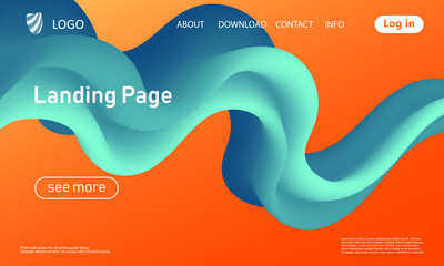 Landing page. Flow shape. Fluid background. Vector Wall mural