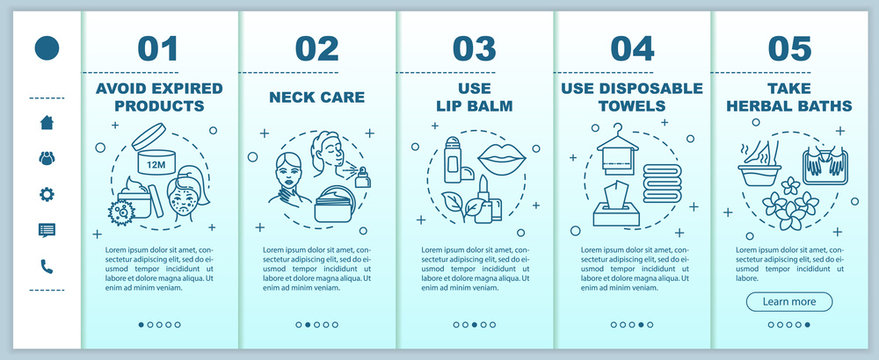 Skincare onboarding vector template. Avoid expired products. Neck, lip care. Disposable towels, herbal baths. Responsive mobile website with icons. Webpage walkthrough step screens. RGB color concept