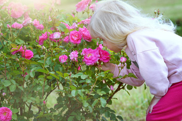 little girl outdoors summertime with roses