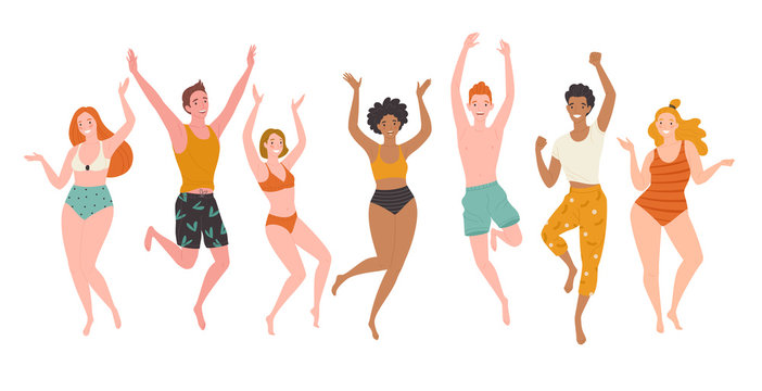 Hello holidays! Vector illustration of a group young and happy people in swim suits and beach wear. Isolated on white