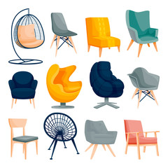 Modern armchair set. Interior furniture design elements. Home and office chair icons. Vector flat cartoon illustration