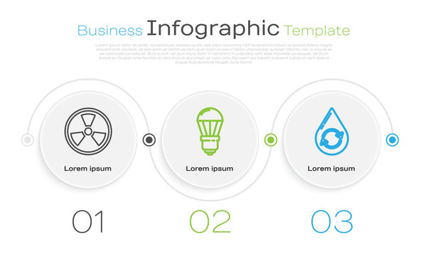 Set line Radioactive, LED light bulb and Recycle clean aqua. Business infographic template. Vector