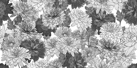 Monochrome seamless floral pattern with flowers chrysanthemum,leaves on white background.Hand drawn.For design textile, wallpapers, wrapping paper, prints. Watercolor style.Vector stock illustration.