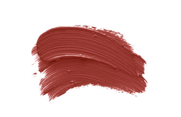 Nude lipstick smudge smear swatch isolated on white. Make-up texture. pale pink color cosmetic product brush stroke swipe sample Wall mural