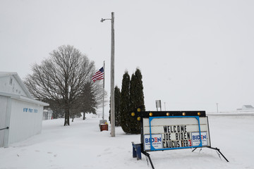 A sign welcomes people to a campaign event for Democratic 2020 U.S. presidential candidate and former U.S. Vice President Joe Biden at the VFW Post 7920 in Osage, Iowa