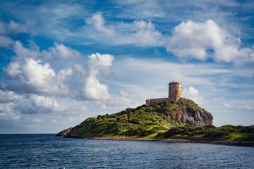 Ancient Spanish tower of Coltellazzo, Nora, Pula, Sardinia, Italy. Fotomurales