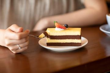 Elegant woman eating cake in cafe