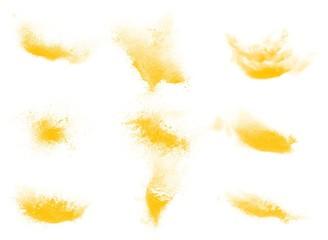 Set of yellow powder explosion brushes - fototapety na wymiar