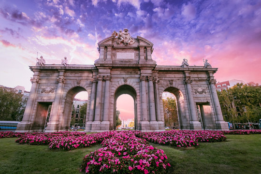 The Alcala Door (Puerta de Alcala). Landmark of Madrid, Spain at sunset