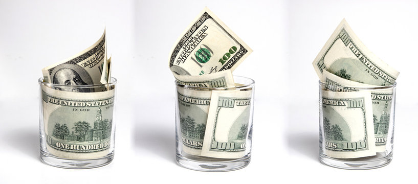 100 dollar bills in a whiskey glass. a set of three angles. high detail