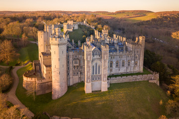 Arundel Castle, Arundel, West Sussex, England, United Kingdom. Bird Eye View Fotomurales