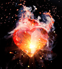 abstract red heart cocktail with splash, sparkles and smoke