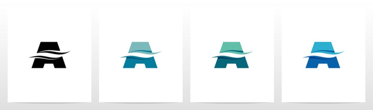 Water Wave On Letter Logo Design A