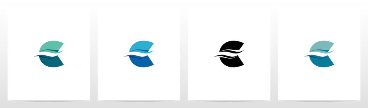 Water Wave On Letter Logo Design C