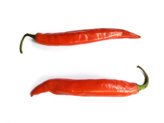In de dag Hot chili peppers Chili pepper isolated on a white background with clipping path. Hot red chili pepper on white background.