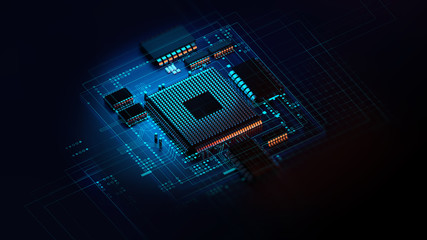 3d rendering  of futuristic blue circuit board and cpu