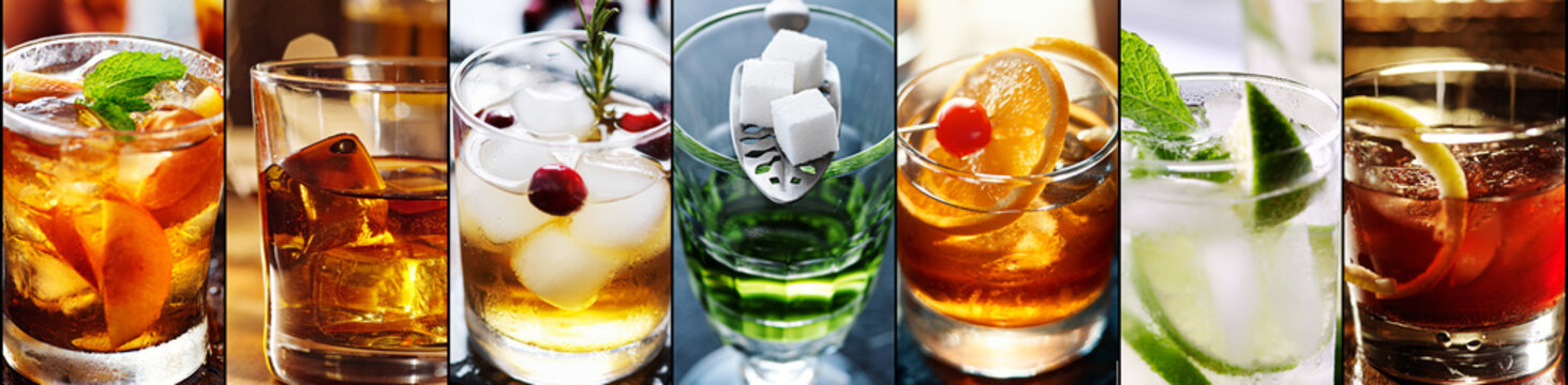 collage of cocktails in panoramic composition