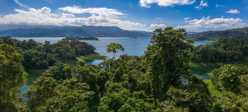 Panoramic view of beautiful Lake Arenal, Costa Rica.