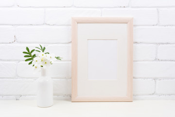 Wooden frame mockup with Tobacco flowers