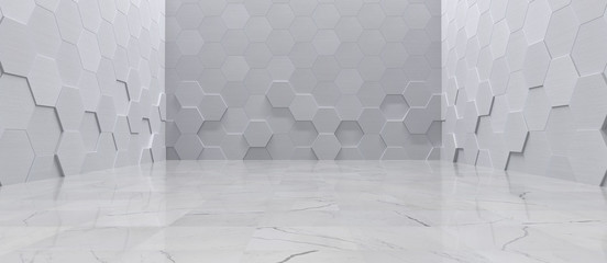 Empty Interior With Metal Hexagon Wall Panels and Tiled Marble Floor (3D Illustration)