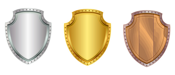 Silver, gold and wooden shield set icon isolated on white