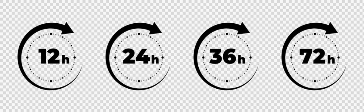Clock arrow 12, 16, 24, 48, 72 hours. Set of delivery service time icons. Vector work time effect or delivery service time icons