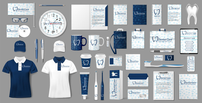 Stationery mockup for Dental Clinic. Corporate Stomatology dentist center Branding identity template design. Vector illustration