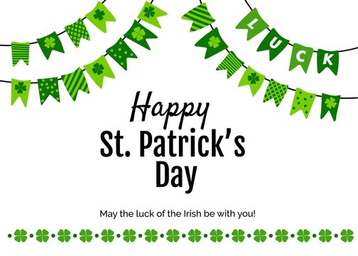 Happy St. Patricks Day card with greeting and garland made of patterned pennants and shamrocks. Vector