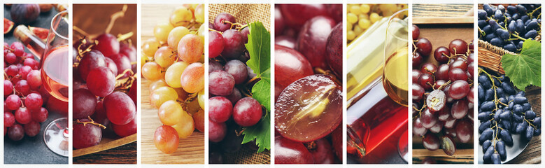 Collage of photos with fresh juicy grapes