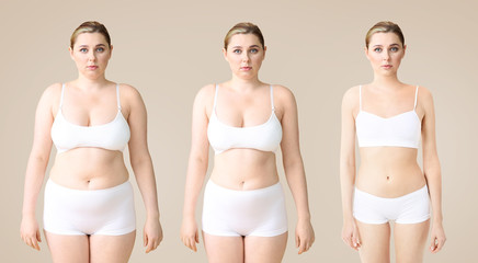 Young woman before and after slimming on color background. Stages of weight loss Fotobehang