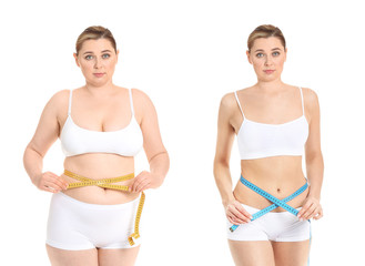 Young woman before and after weight loss on white background Fotobehang