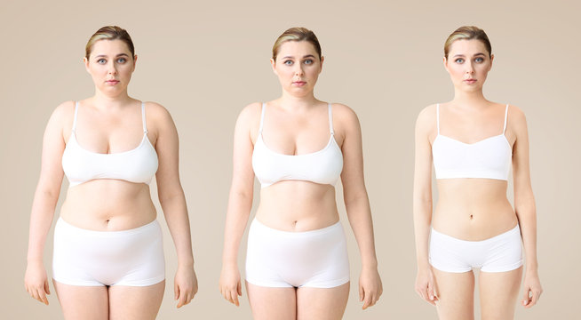 Young woman before and after slimming on color background. Stages of weight loss