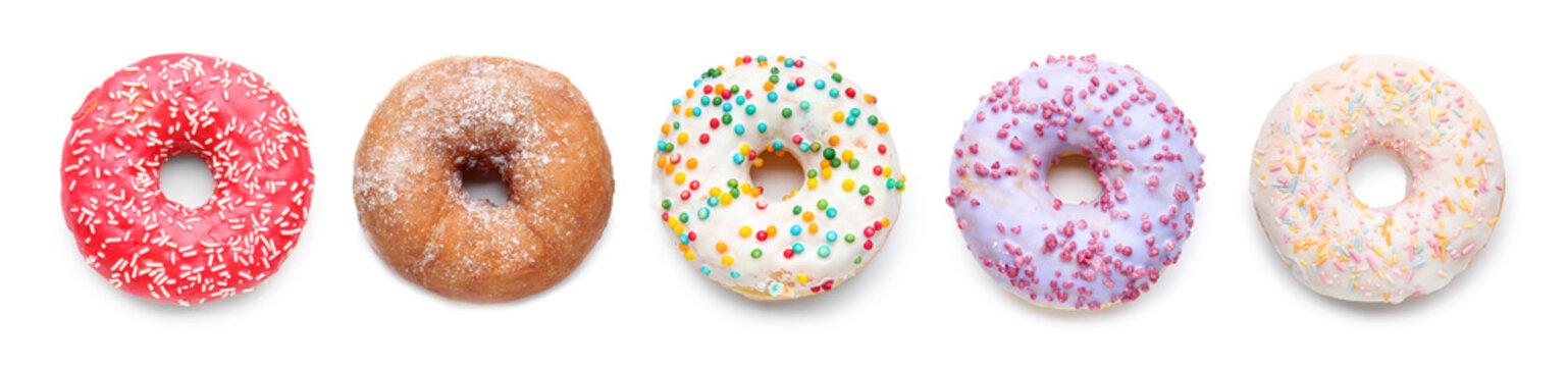 Sweet tasty donut on white background