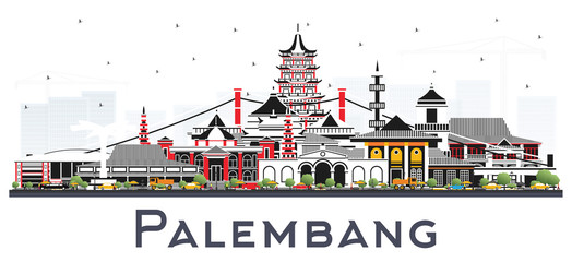 Palembang Indonesia City Skyline with Gray Buildings Isolated on White.