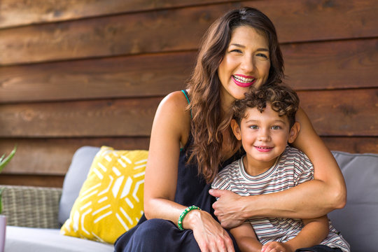 Portrait of a young Hispanic Mother and her son.