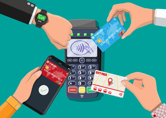 Hands with transport card, smartphone, smartwatch and bank card near POS terminal. Wireless, contactless or cashless payments, rfid nfc. Vector illustration in flat style - fototapety na wymiar