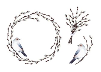Set of decoration elements with gray-blue bird and branches blooming willow tree, circle frame, bouquet, twig. Vector spring illustration in vintage watercolor style, isolated on white background.