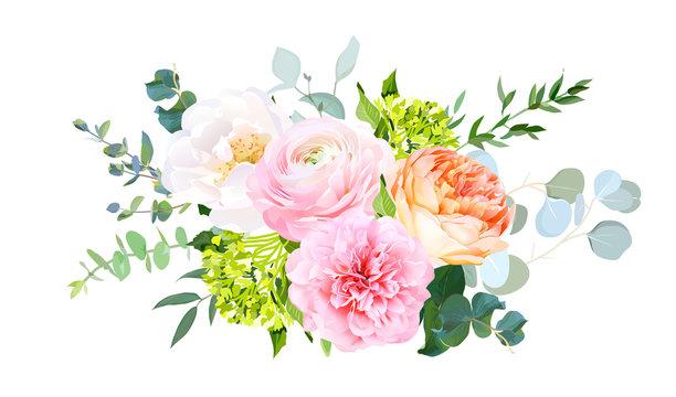 Coral juliet garden rose, pink ranunculus, peony, green hydrangea, eucalyptus