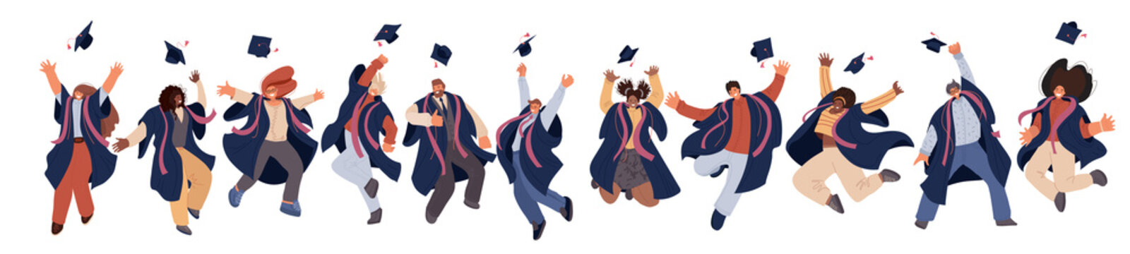 Vector flat set of Happy graduated man and woman in college and university education students in academic dresses. Celebration of Graduation day Students trow caps in air, Success Learning Concept