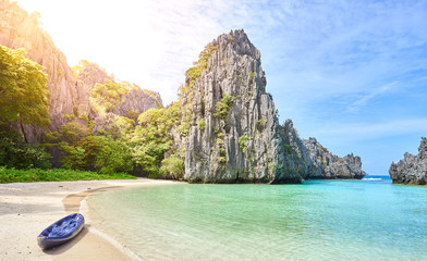 """Tropical Paradise """"Hidden Beach"""" in El Nido, Palawan, Philippines. Breathtaking bay with turquoise Water and white sand."""
