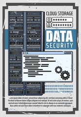 Data security and cloud storage, server login and password info. Vector digital service or app with data transferring. Computer server in datacenter, network, online diagnostics