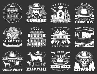 Wild west isolated icons. Vector cowboy american legend, western saloon, sheriff department, crossed revolvers, pistol gun. Wagon cart, native indian, horse and skull in hat, drinks and treasures