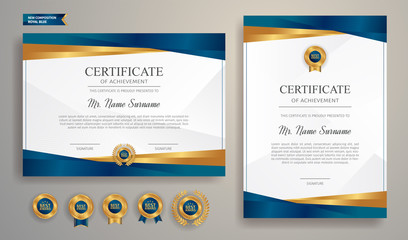 Obraz Blue and gold certificate of achievement template with gold badge and border - fototapety do salonu